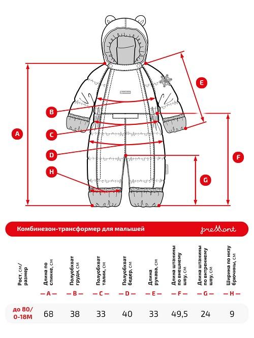 Размерная сетка комбинезона Premont Пинк Китти WP91056