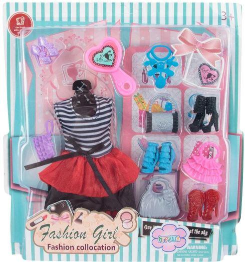 Набор со стильным платьем и аксессуарами для кукол 29 см (платье, обувь, сумочки)