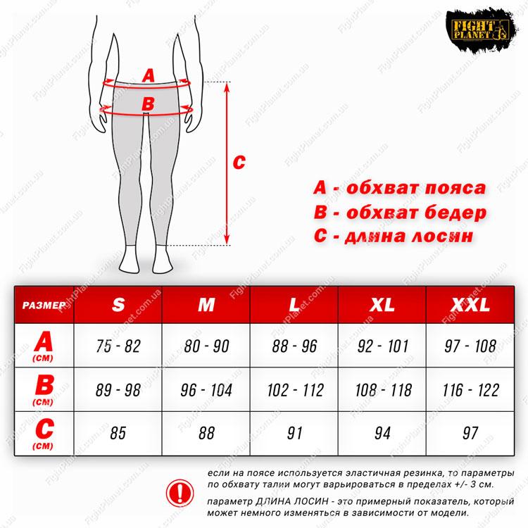 Размерная сетка таблица компрессионные леггинсы Peresvit