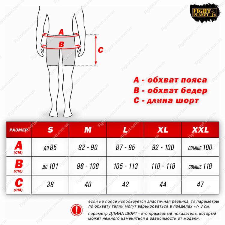 Размерная сетка таблица компрессионные шорты Fuji