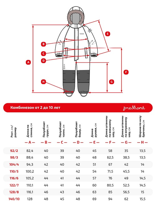 Размерная сетка комбинезона Premont Нежная фиалка WP91172