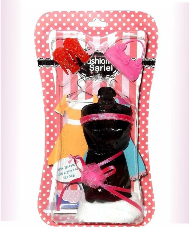 Черное платье и аксессуары для куклы 29 см (платье, обувь, сумочка)