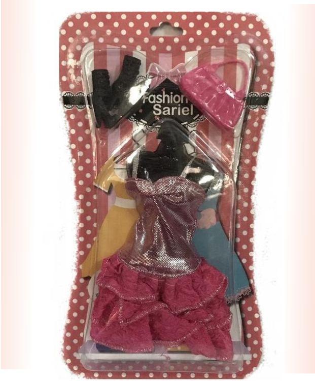 Кукольный набор - розовое платье и аксессуары