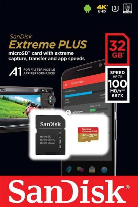 Карта памяти SanDisk Extreme MicroSDHC 32GB Class 10 UHS Class 3 V30 A1 (100 Mb/s) + SD Adapter