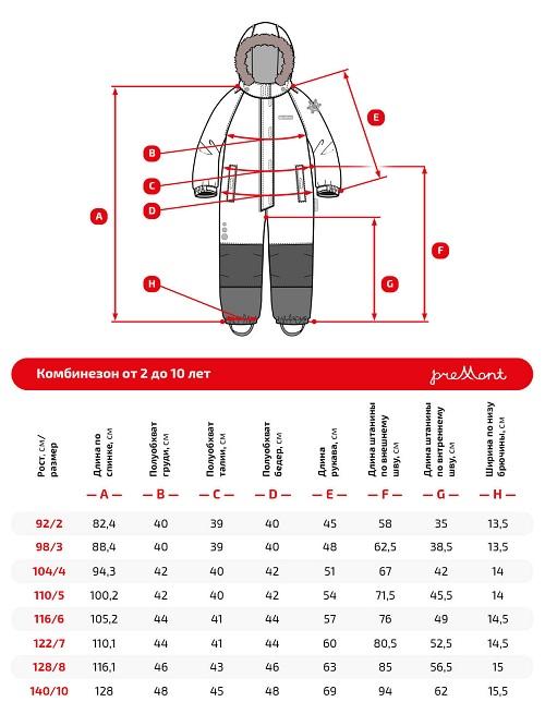 Размерная сетка комбинезона Premont Звезды Ориона WP91173