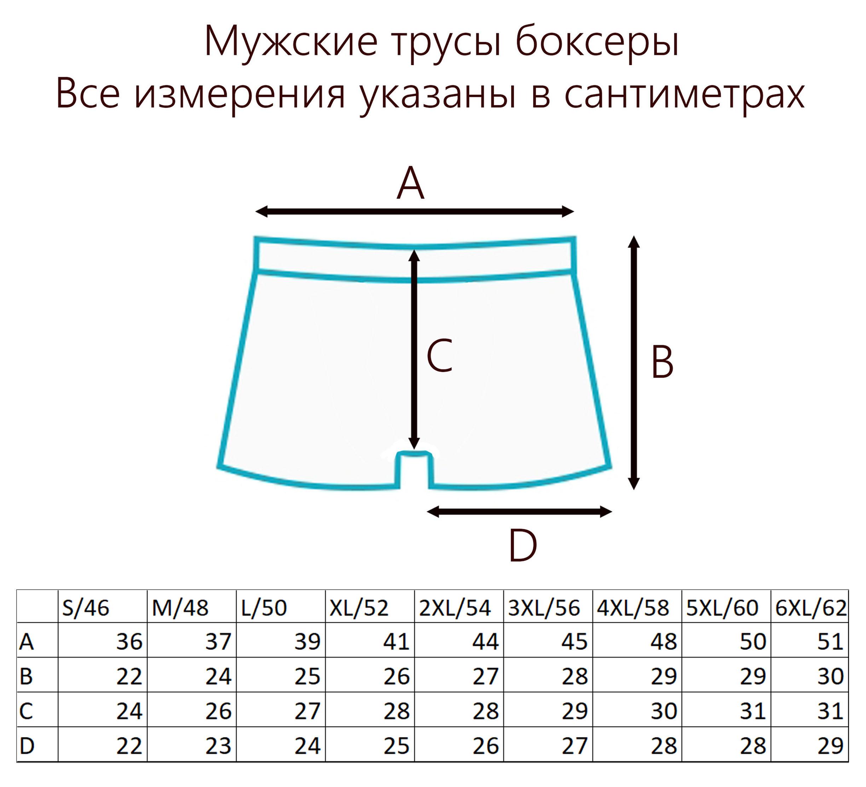 Таблица размеров мужских трусов