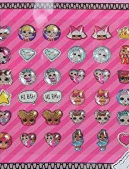 Набор LOL серьги стикеры -украшения для девочек, 24 шт