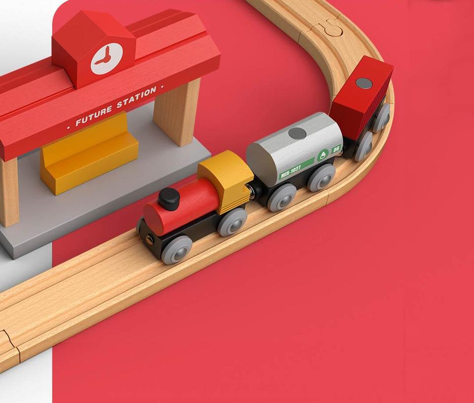 Деревянная железная дорога Mitu Toy Train Set 63 Pcs жд станция