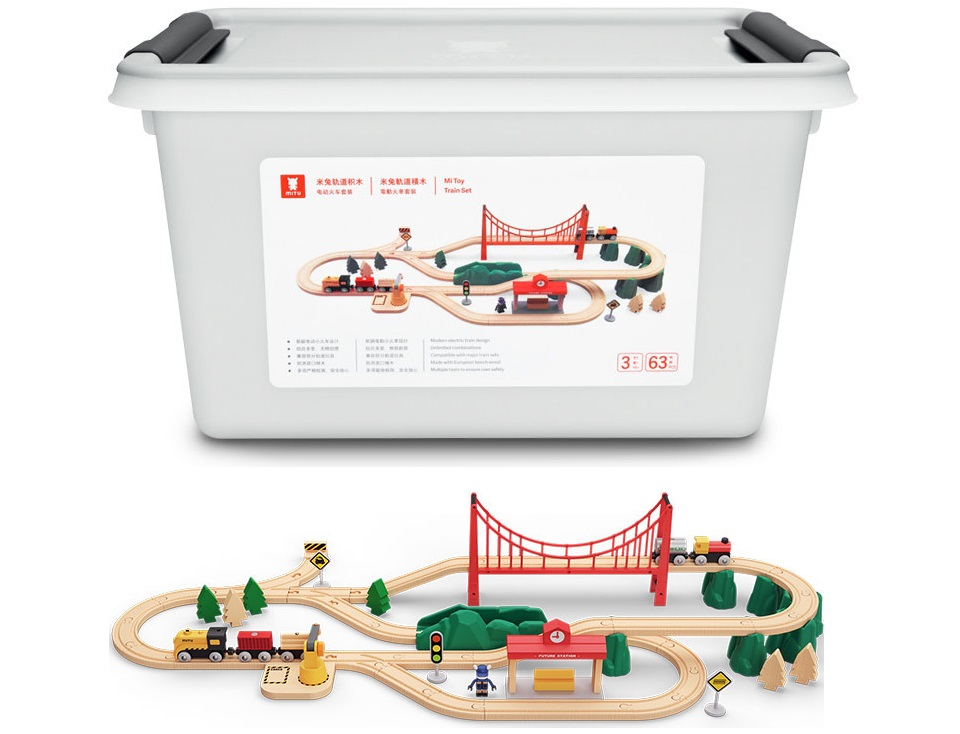Деревянная железная дорога Mitu Toy Train Set 63 Pcs органайзер