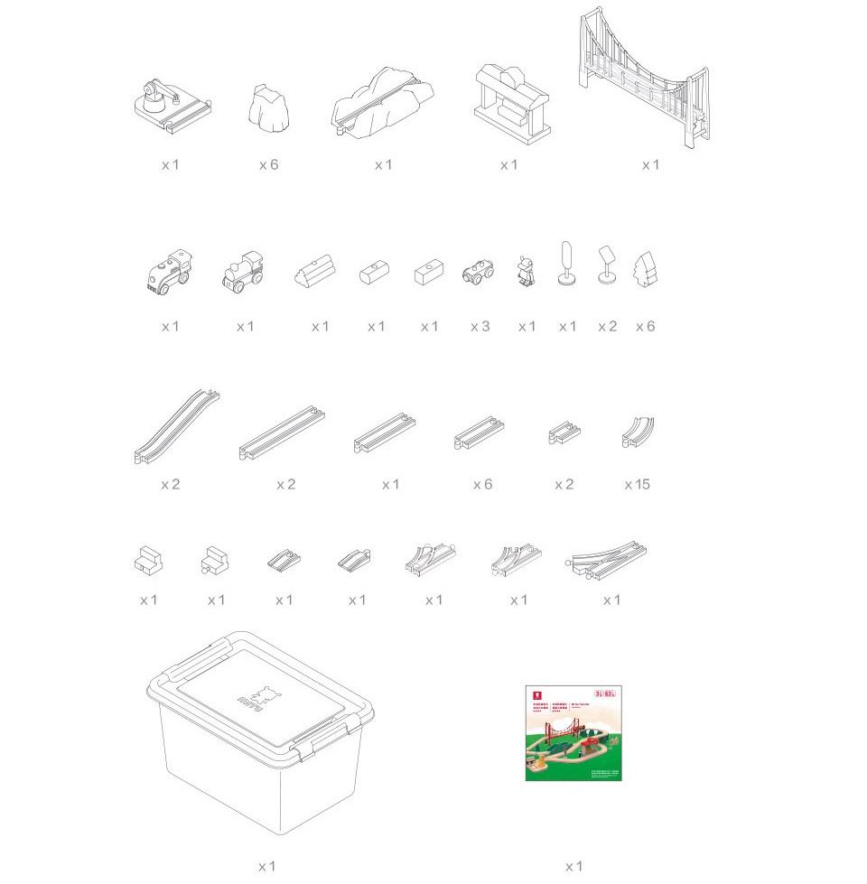 Деревянная железная дорога Mitu Toy Train Set 63 Pcs комплект