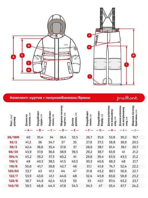 Размерная сетка комплекта Premont Рэд Фокс WP91254