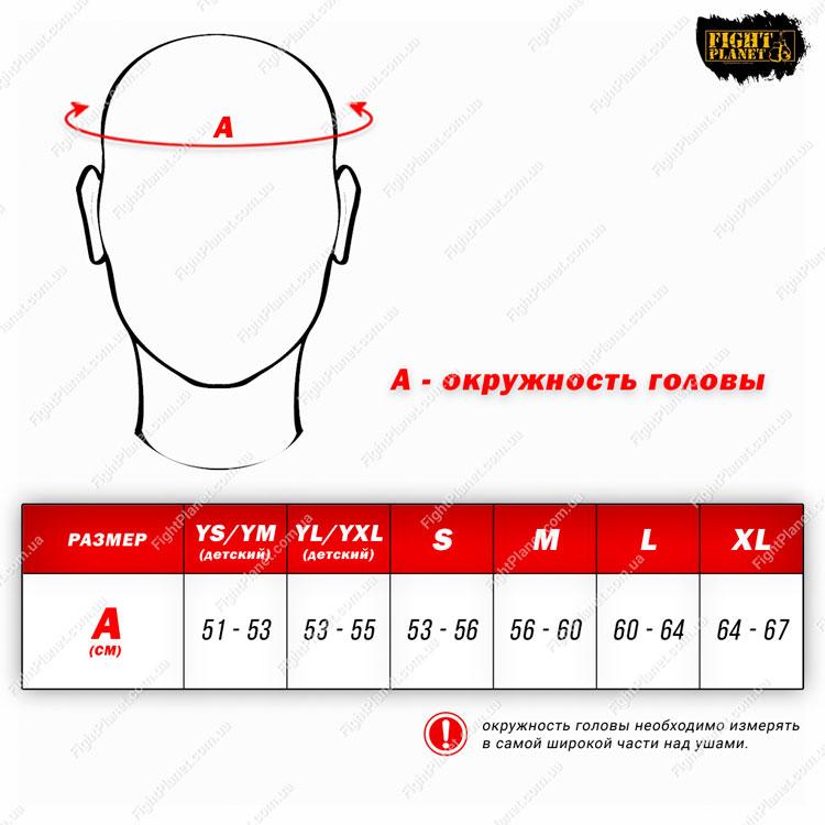 Размерная сетка таблица боксерского шлема Ringside
