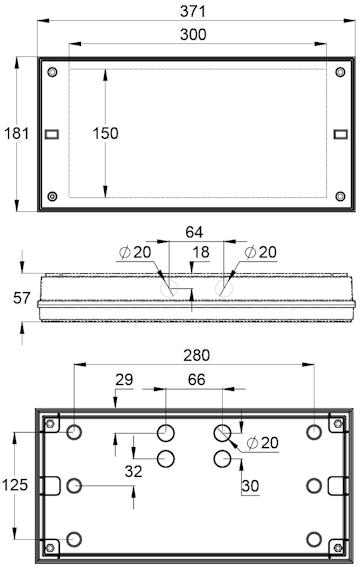 Монтажные размеры для светодиодного указателя IP65 SOLID EXIT
