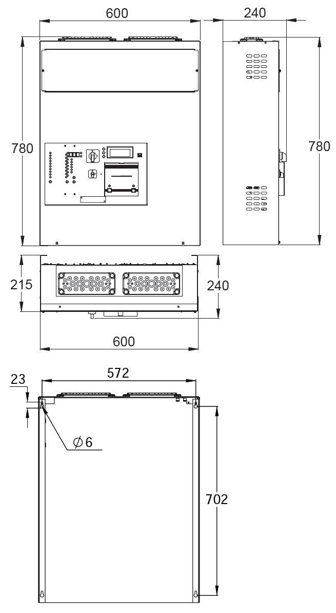 Монтажные размеры адресного блока системы аварийного централизованного освещения TKT66C Teknoware
