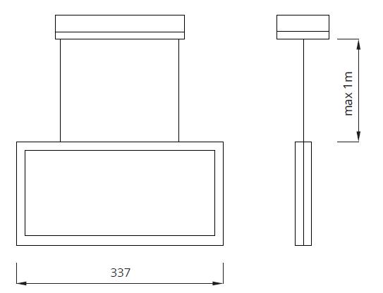 Размер подвесного указателя направления движения IP44 Infinity AS