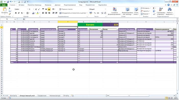 Пример ведения учета в Excel-таблицах