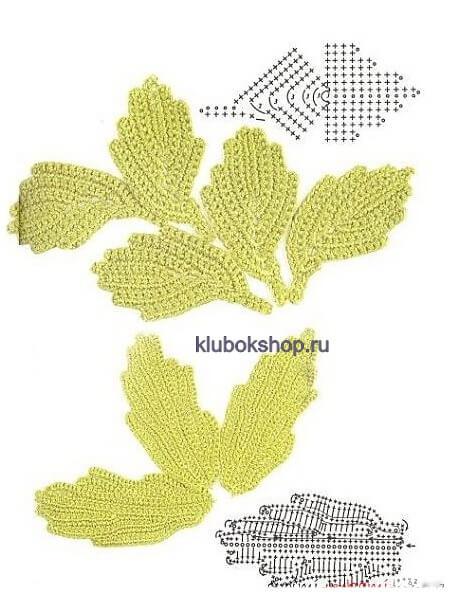 Схема вязания листочка