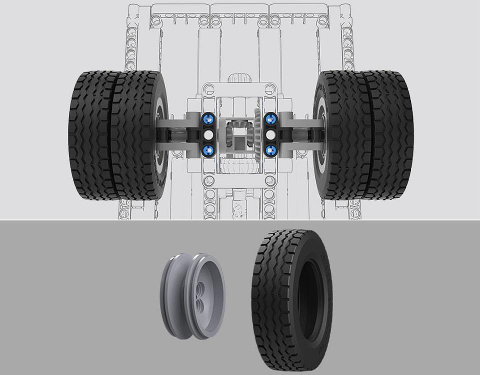 Игрушка трансформер MiTu Building blocks Mine Truck шины и колеса