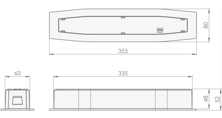 Размеры аварийного светильника, встраиваемого в потолок, для освещения путей эвакуации Suprema LED SCH PT IP54 Intelight