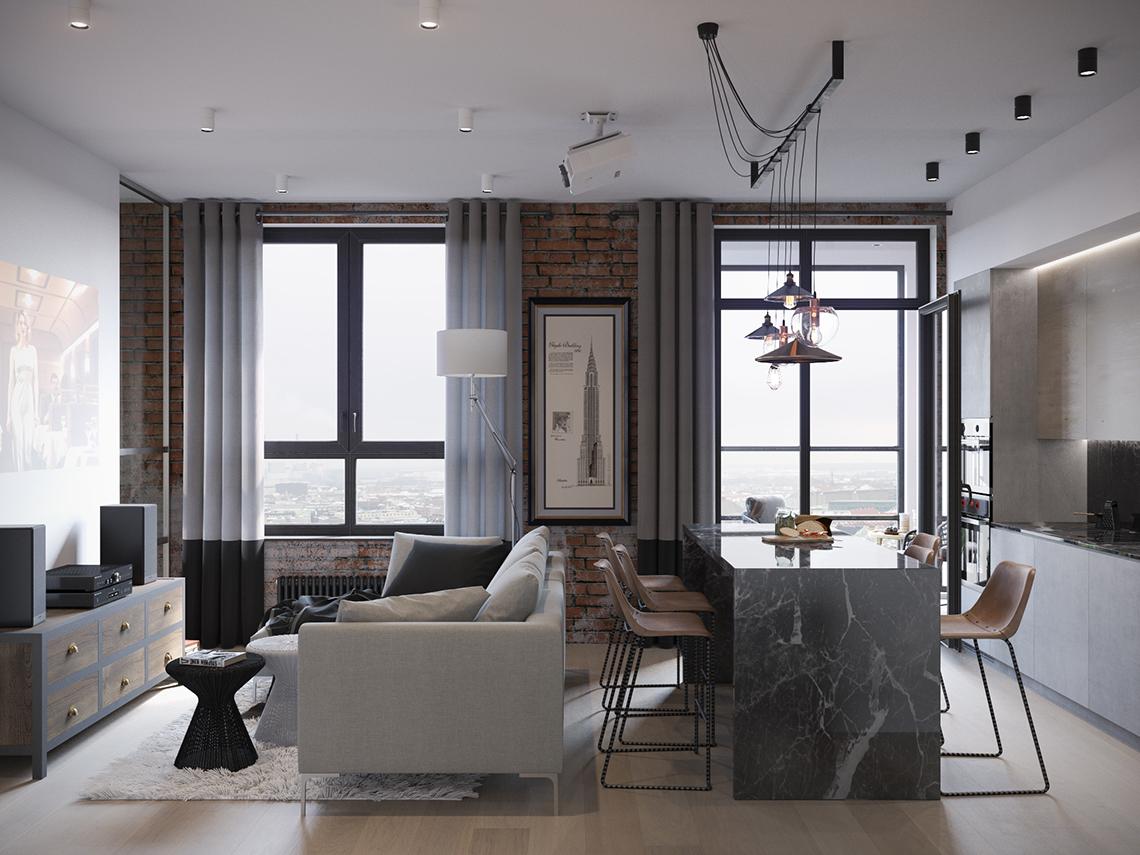 Светильники в стиле лофт в интерьере