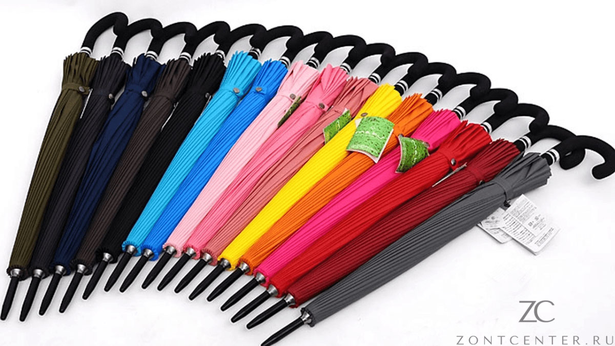 Зонт трость красный 24 спицы | ZC Mabu
