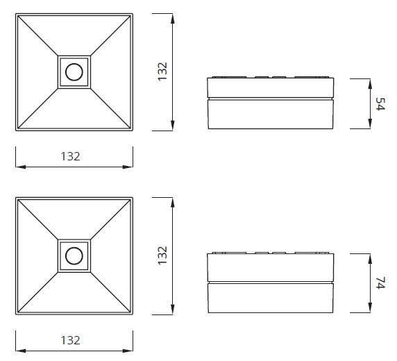 Размер светодиодного встраиваемого аварийного светильника Lovato II
