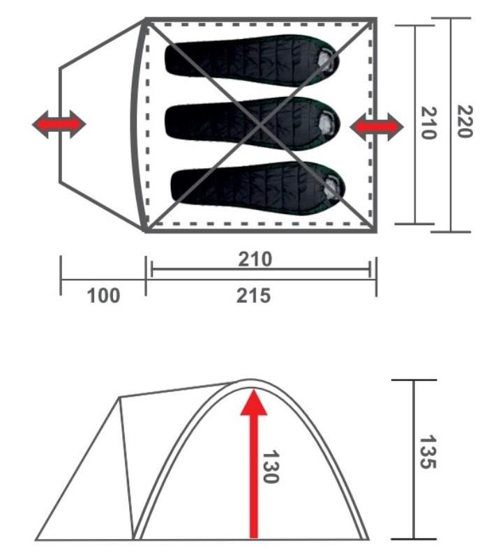 Палатка для кемпинга Premier Torino-3. Размеры