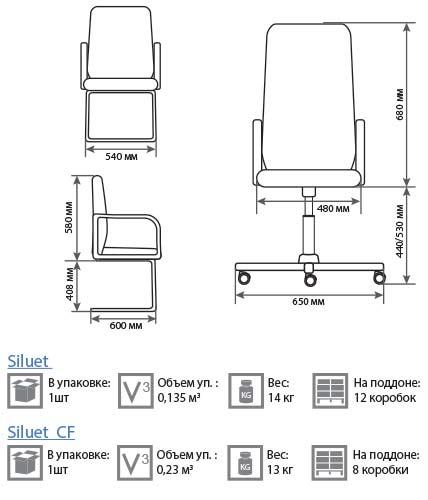 Кресло Силуэт размеры