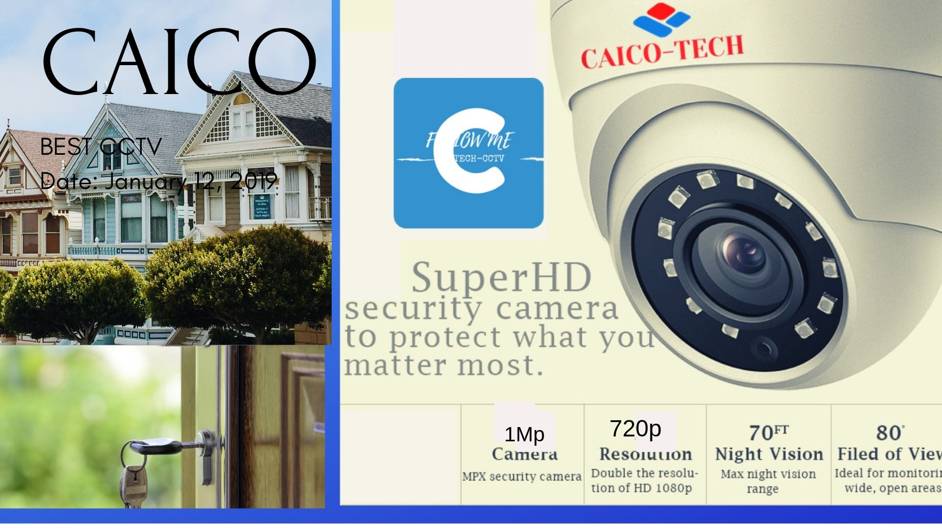 Высоконадежные видеокамеры для помещения Caico 1 mp 720 p