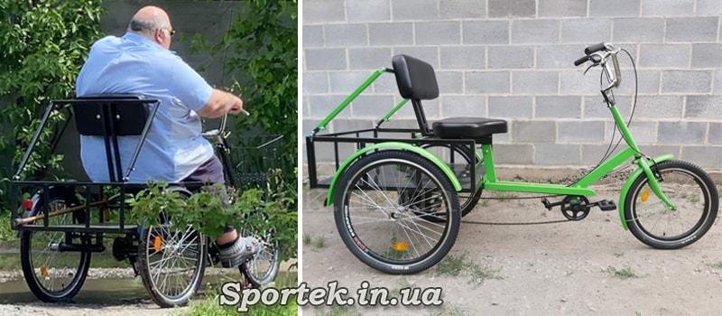Дополнительные упоры на кресло для очень тяжелого велосипедиста