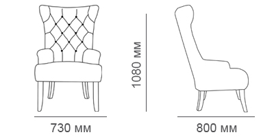 Габаритные размеры кресла Бахрома-Люкс