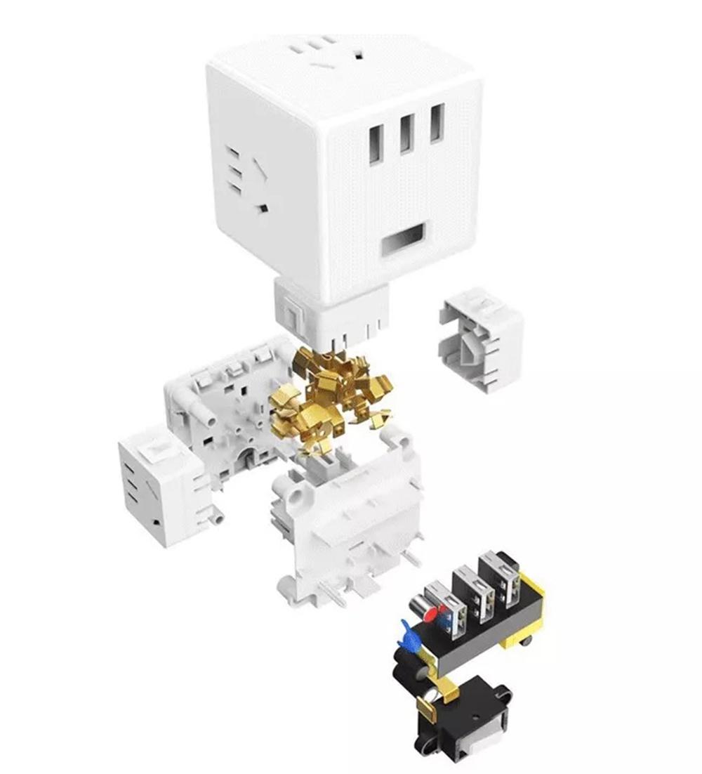 Разветвитель Xiaomi Mijia Rubiks Cube Converter Wireless Edition MJZHQ3-01QM, проводная, беспроводная версия