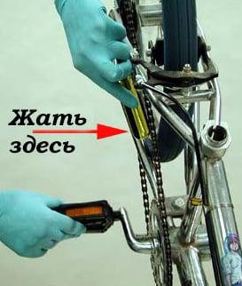 Проверка соскока цепи со звездочек односкоростного велосипеда