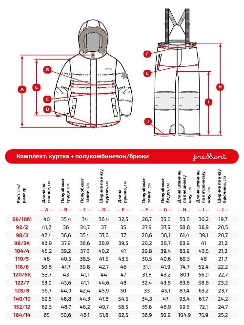 Размерная сетка комплекта Premont Астры в цвету WP91259