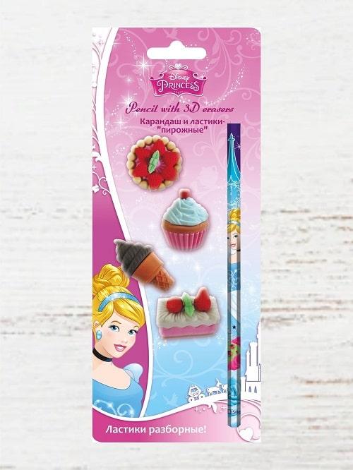 Детский канцелярский набор Принцессы - карандаш, 4 ластика