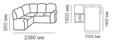 габаритные размеры углового дивана Калифорния 1с2