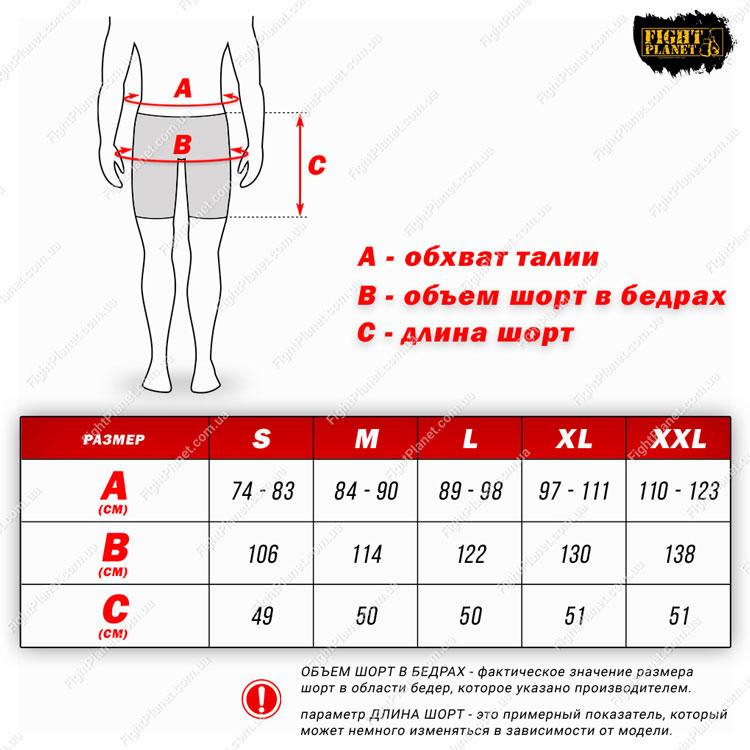 Размерная сетка таблица шорты тренировочные Peresvit