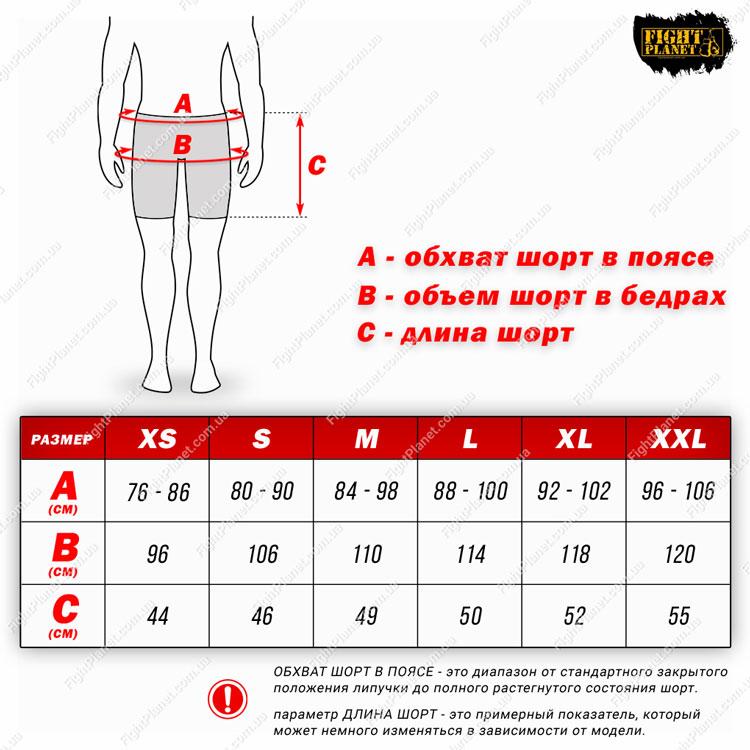 Размерная сетка таблица шорты для MMA Peresvit