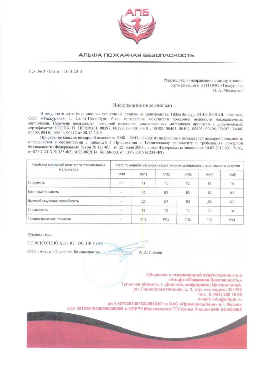 Пожарный сертификат Гармония-3