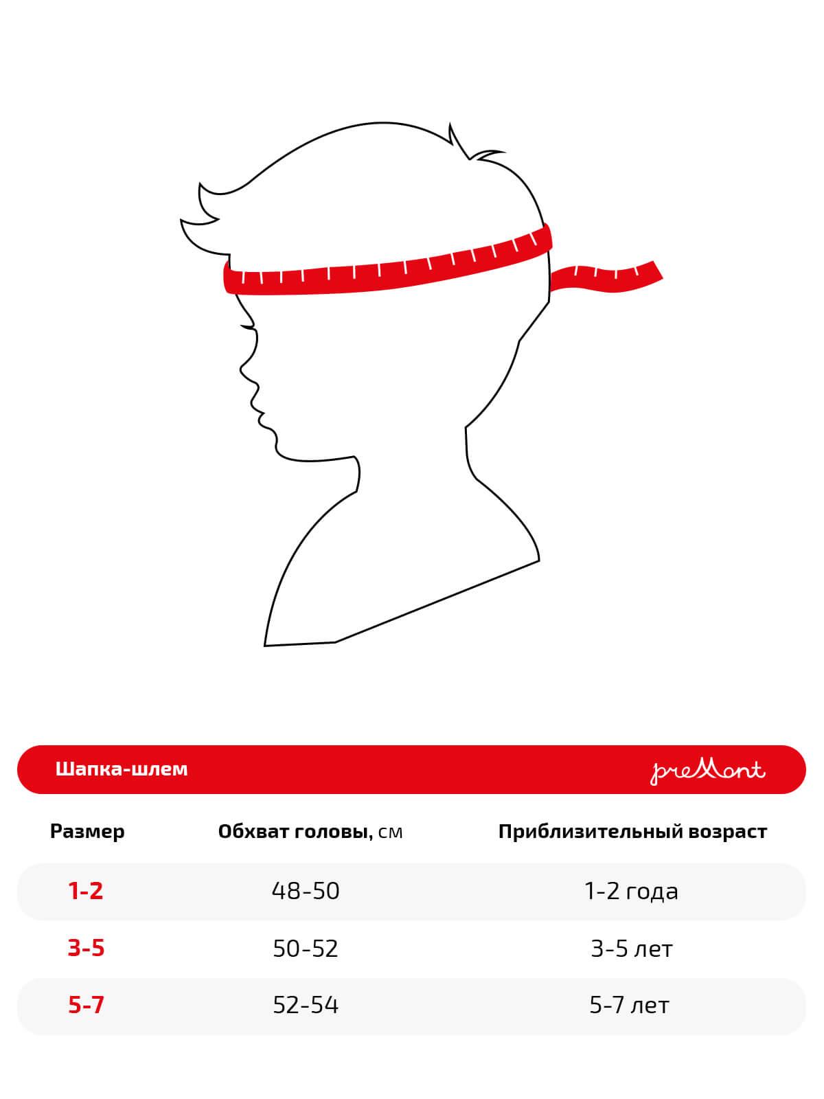 Размерная сетка шапки Premont WP92897