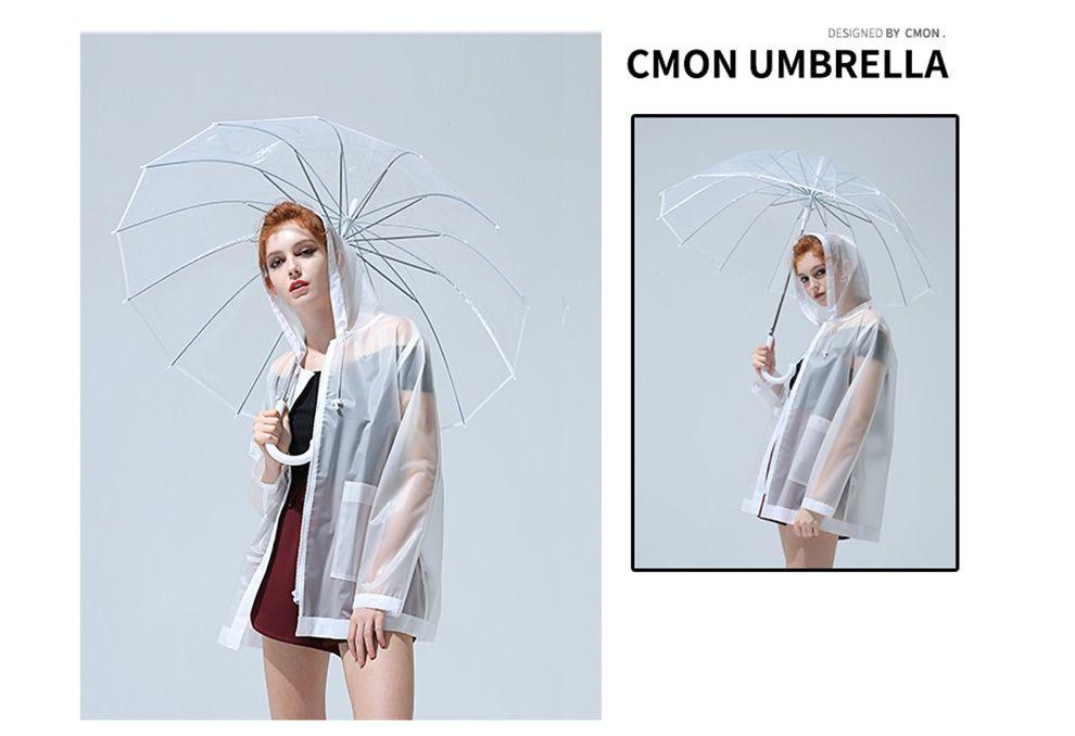 Зонт трость прозрачный с белой ручкой 16 спиц  | ZC Elegant