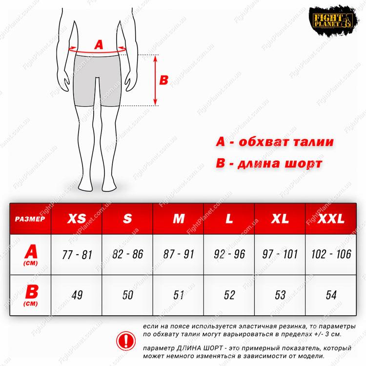 Размерная сетка шорт Venum для MMA