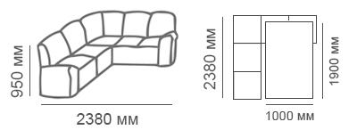 габаритные размеры углового дивана Калифорния 2с2