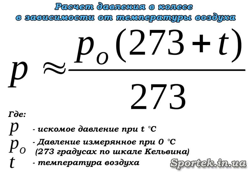 Формула розрахунку тиску в колесі в залежності від температури