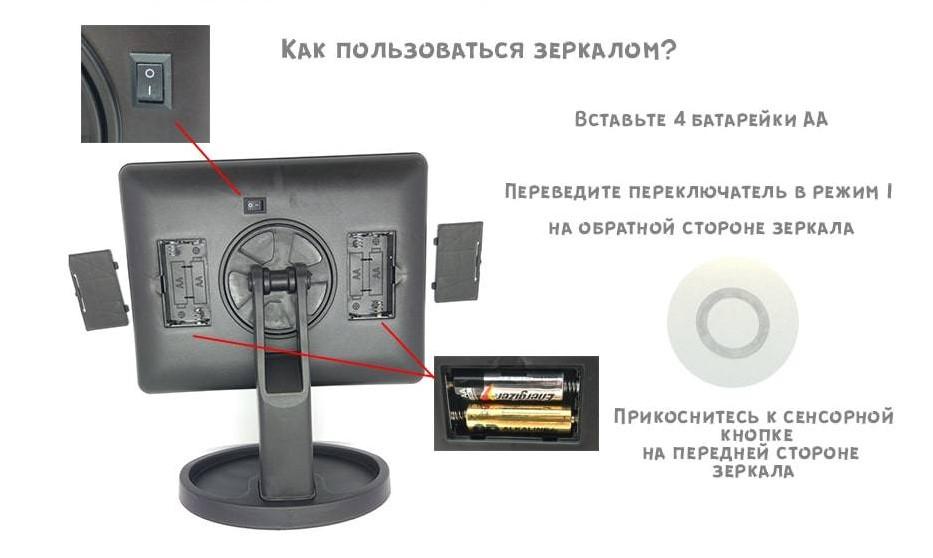 Как включить зеркало с led-подсветкой
