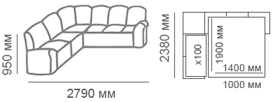 габаритные размеры углового дивана Калифорния 2с3