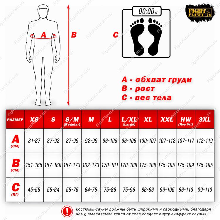 Размерная сетка костюмов - сауна Title Boxing