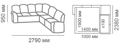 габаритные размеры углового дивана Калифорния 3с2