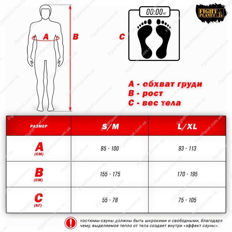 Размерная сетка таблица костюм-сауна Vnoks