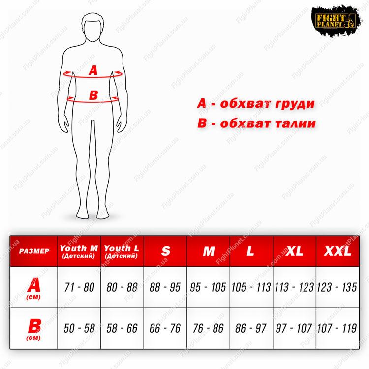 Размерная сетка таблица костюм боксерский Title Boxing
